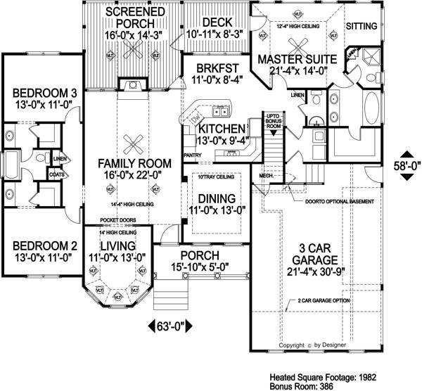 Этот практичный проект одноэтажного дома  площадью  до 200 кв.м с большим гаражом и с 3 спальнями подходит для постоянного проживания. Также перед домом есть веранда..