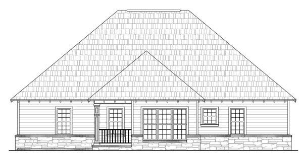 Вид сзади Проект красивого одноэтажного дома с гаражом и вальмовой крышей