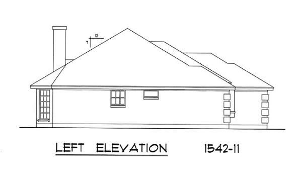 Вид слева План 1-этажного дома 15x15 с кирпичным фасадом