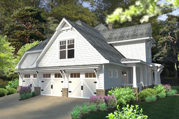 Этот проект двухэтажного каркасного дома в стиле кантри площадью  до 250 кв.м с большим гаражом и с 3 спальнями подходит строительства дома с цокольным этажом на участке с уклоном.