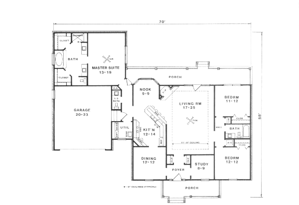 Этот удобный проект одноэтажного дома  площадью  до 200 кв.м с гаражом на 2 машины и с 3 спальнями подходит для постоянного проживания. Также перед домом есть веранда..