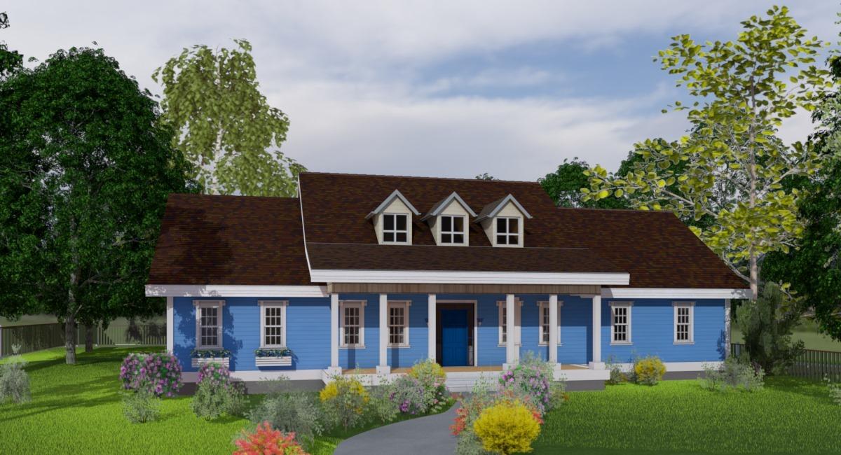 V-3653-1-3 -Дом с голубым сайдингом