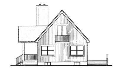 Вид сзади План одноэтажного дома с мансардой в стиле шале JA-1878-2-3