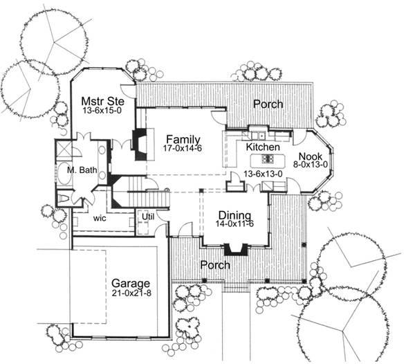 План 1 этажа Проект дома г-образной формы с мансардой, верандами и гаражом