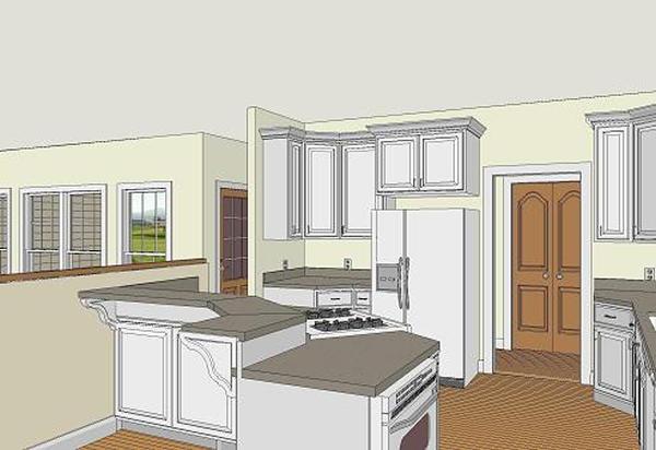 Эскиз кухни План 1-этажного дома Г-образной формы с большими верандами