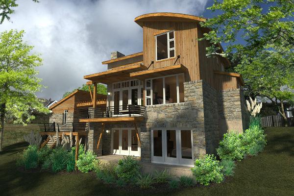 Проект двухэтажного каркасного дома в современном стиле площадью  до 100 кв.м с гаражом и с 2 спальнями, ванной и гардеробной комнатой.