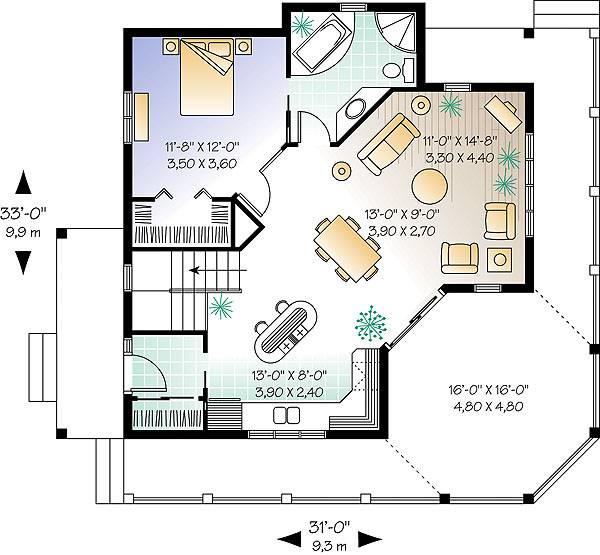 Отличный проект одноэтажного дома в дачном стиле 10 на 9 метров площадью  до 100 кв.м с одной спальней подходит  для дачи .