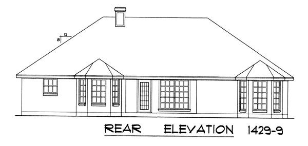 Вид сзади Проект одноэтажного дома с кирпичным фасадом, вальмовой крышей и встроенным гаражом