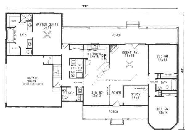 Этот популярный проект одноэтажного дома  площадью  до 200 кв.м с гаражом на 2 машины и с 3 спальнями подходит для постоянного проживания. Также перед домом есть веранда..