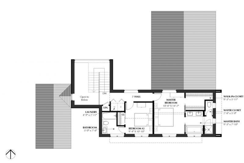 План двухэтажного дома в современном стиле с двускатной крышей, большими окнами в пол, с 3 спальнями, с террасой и с пристроенным гаражом на две машины.
