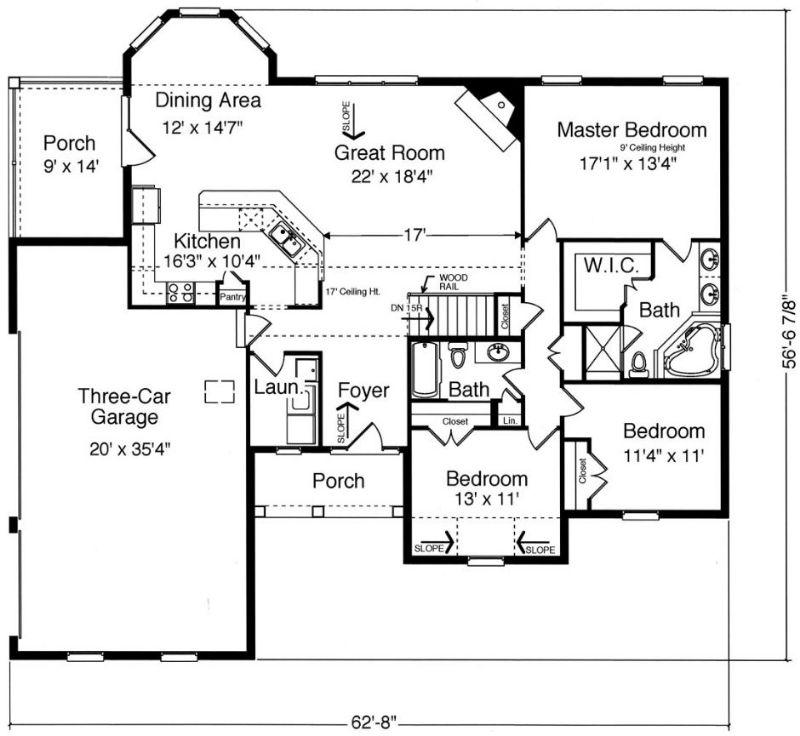 План 1 этажа План 1-этажного дома KD-9092-1-3 в английском стиле 174 кв м