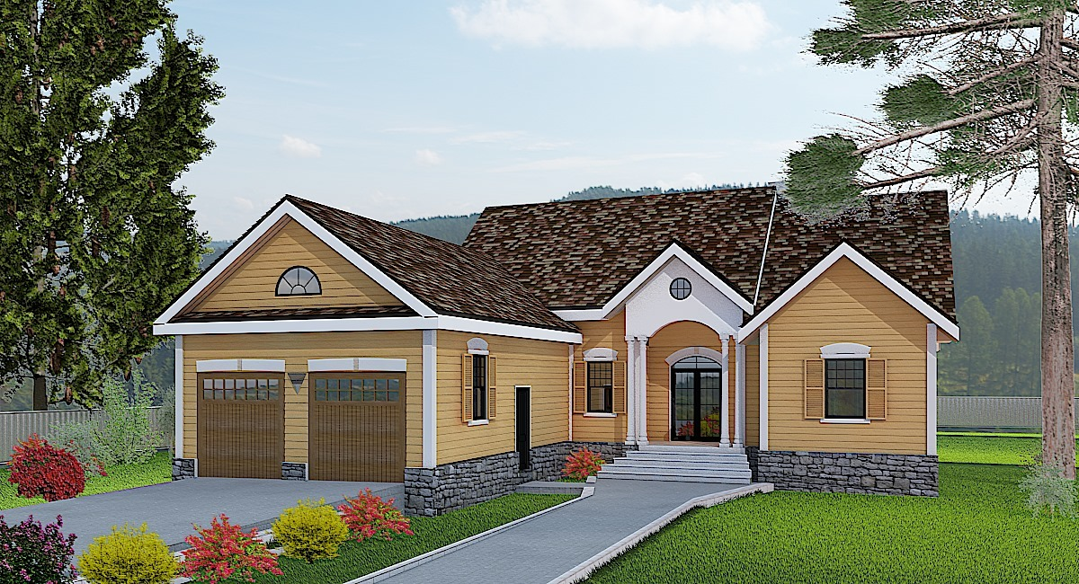 This Scandinavian house facade has decorative trim, an arched entry door with a transom window above, shuttered windows, gable windows and faced with horizontal siding. A multi gable roof completes the look of this house. House plan is 52 feet wide by 54 feet deep and provides 1514 square feet of living space in addition to a two-car garage Space includes Foyer, with a walk-in closet, Great Room, with cathedral ceilings, a Family Room, with a fireplace, a Dining Room, with french doors leading to the rear porch, L-shaped, a Kitchen, with a large island, the Master Bedroom, with a five pieces bathroom, with a spacious walk-in closet, additional Bedrooms, with a walk-in closet. An open layout maximizes the use of the living space. Outdoor living space includes recessed entry porch.