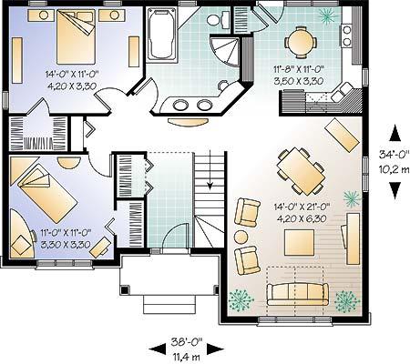Этот удобный проект одноэтажного дома в европейском стиле 11 на 10 метров площадью  до 150 кв.м с 2 спальнями подходит для постоянного проживания. В большой спальне есть ванная. Также перед домом есть веранда..