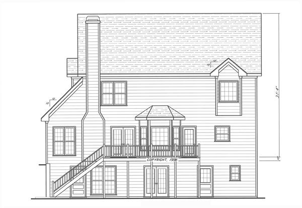 Вид сзади Проект двухэтажного дома в английском стиле с встроенным гаражом