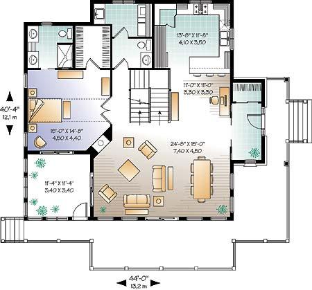 План 1 этажа Проект каркасного дома KD-4648-3-3 в трех уровнях
