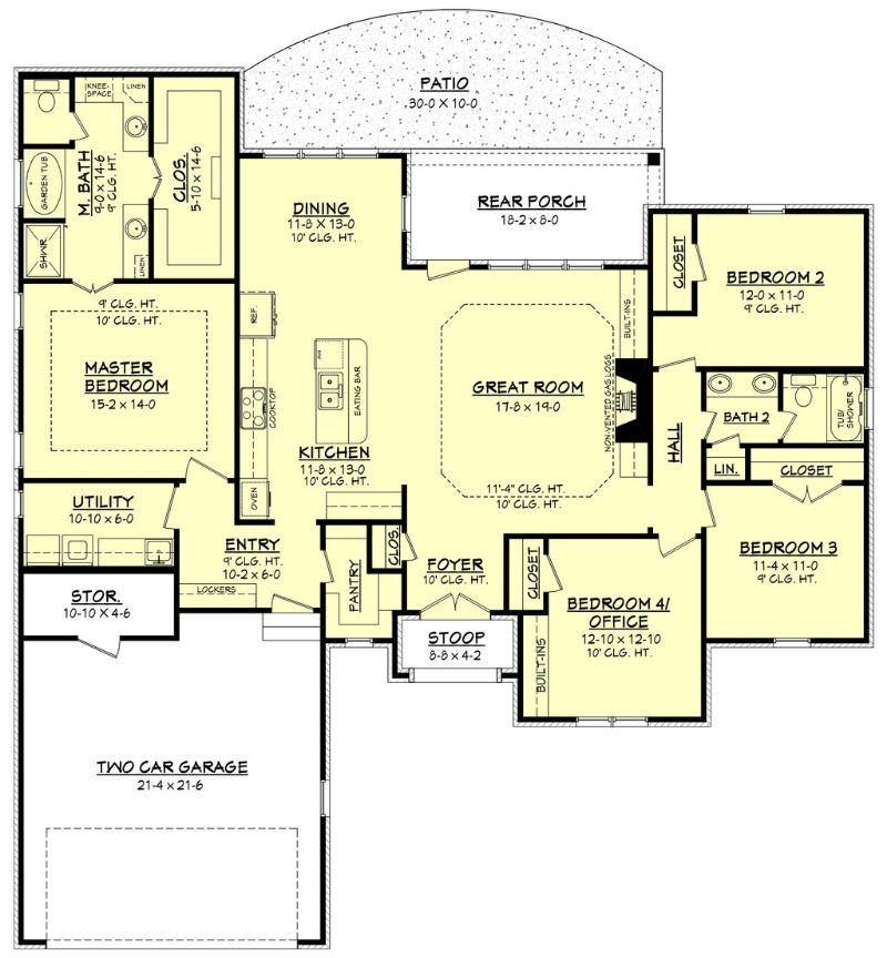 План 1 этажа План одноэтажного дома с террасой и летней кухней: каркасный кирпичный
