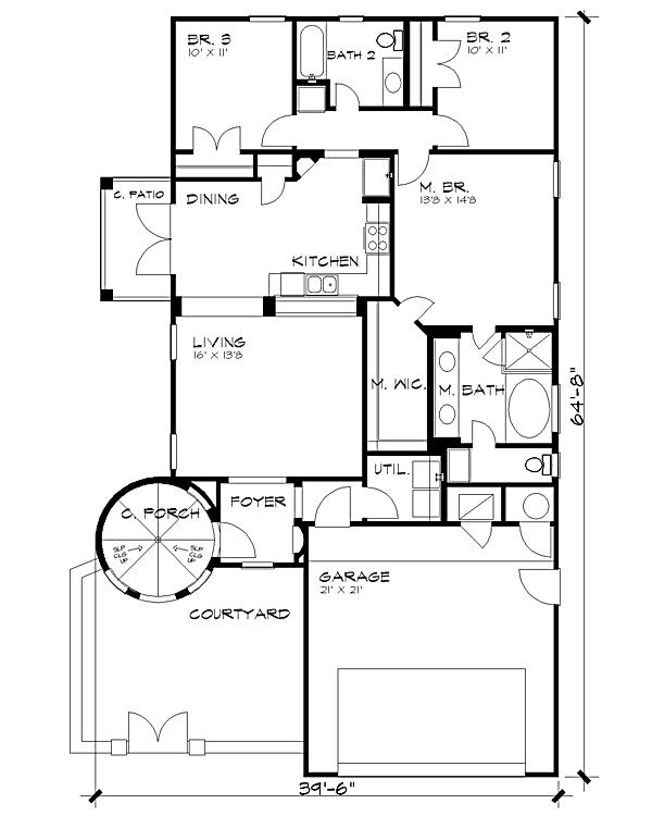 Замечательный проект одноэтажного дома в средиземноморском стиле  площадью  до 150 кв.м с гаражом на 2 машины и с 3 спальнями подходит для постоянного проживания.