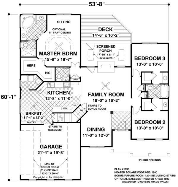 План 1 этажа План одноэтажного дома с жилым цокольным этажом с планировкой