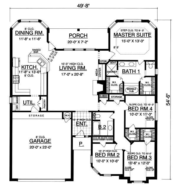 План 1 этажа План 1-этажного дома 15x17 177 кв м