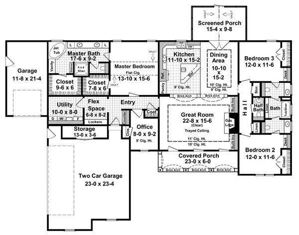 Этот удобный проект одноэтажного дома в стиле прованс площадью  до 250 кв.м с большим гаражом и с 3 спальнями подходит для постоянного проживания. В большой спальне есть ванная. Также перед домом есть веранда..