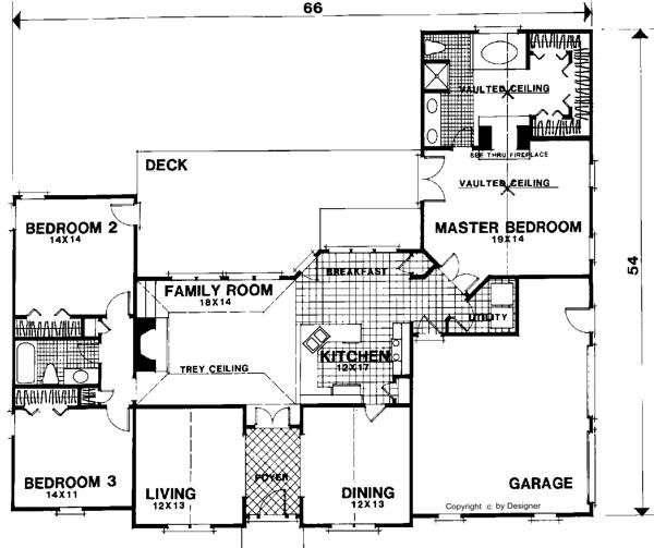План 1 этаж План 1-этажного дома KD-6307-1-3 186 кв м