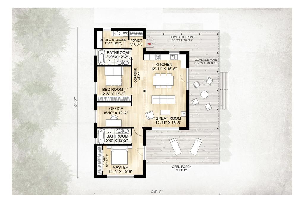 Этот симпатичный проект одноэтажного дома в современном стиле площадью  до 150 кв.м с 2 спальнями подходит  для дачи . В проекте дома есть терраса..