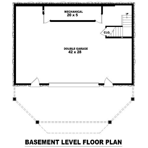 План цокольного этажа Проект дома в стиле шале с цокольным этажом и панорамным окном