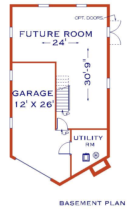 План цокольного этажа Проект одноэтажного дома с мансардой 8x14 в стиле шале