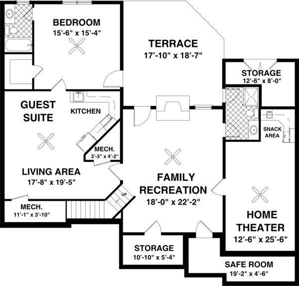 План цокольного этажа План одноэтажного дома с жилым цокольным этажом с планировкой