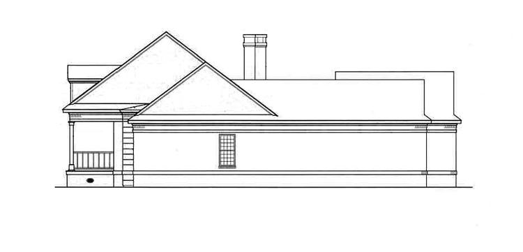 Вид справа План 1-этажного дома с верандой и внутренним двориком