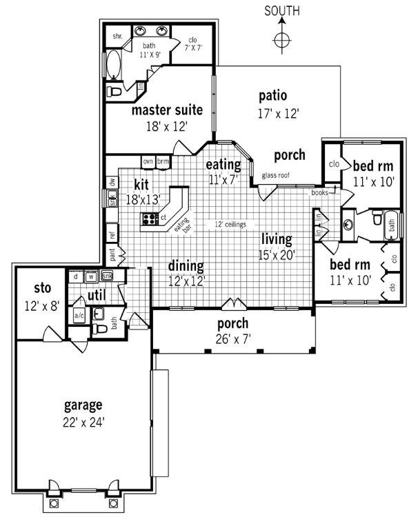 Этот привлекательный проект одноэтажного дома в американском стиле площадью  до 200 кв.м с гаражом на 2 машины и с 3 спальнями подходит для постоянного проживания. В большой спальне есть ванная. Также перед домом есть веранда..