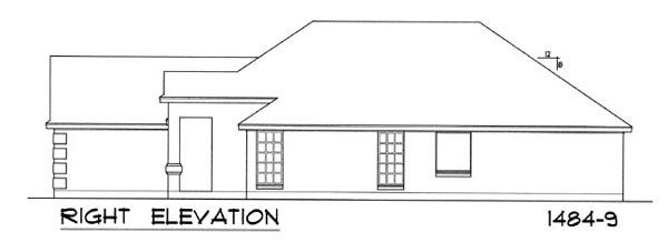 Вид справа Проект одноэтажного дома для узкого участка с обособленной гостиной