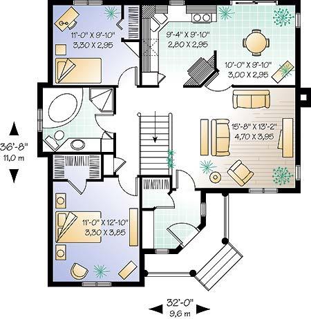Этот красивый проект одноэтажного дома в дачном стиле 9 на 11 метров площадью  до 100 кв.м с 2 спальнями подходит  для дачи . В большой спальне есть ванная. Также перед домом есть веранда..