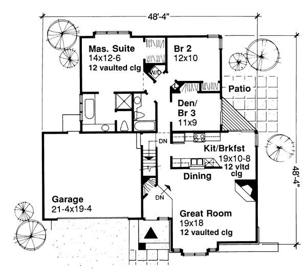 Этот практичный проект одноэтажного дома в американском стиле площадью  до 150 кв.м с гаражом на 2 машины и с 3 спальнями подходит для постоянного проживания.