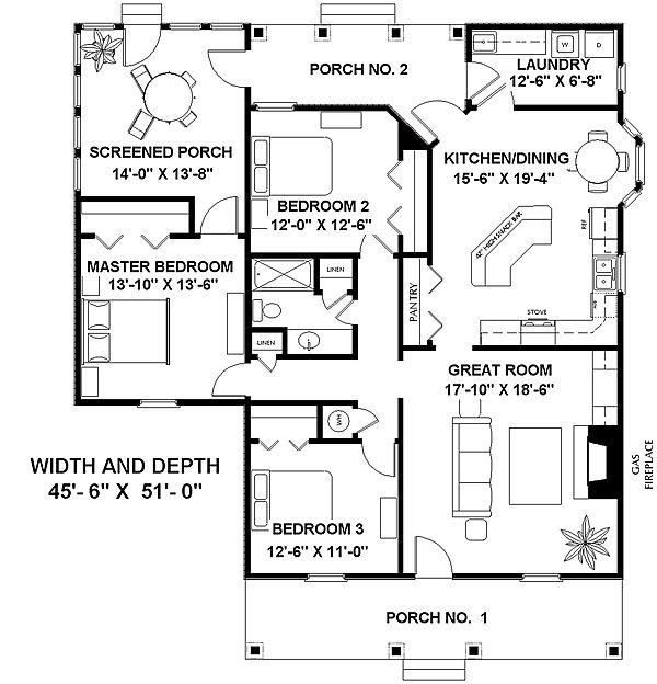 Этот привлекательный проект одноэтажного дома  площадью  до 150 кв.м с 3 спальнями подходит для постоянного проживания. Также перед домом есть веранда..