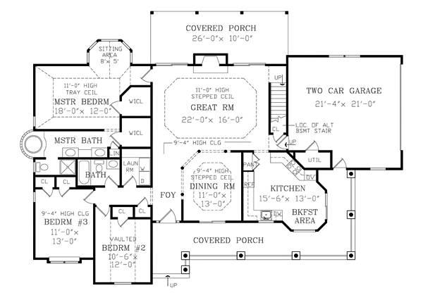 План 1 этажа Проект дома с цокольным этажом и верандой