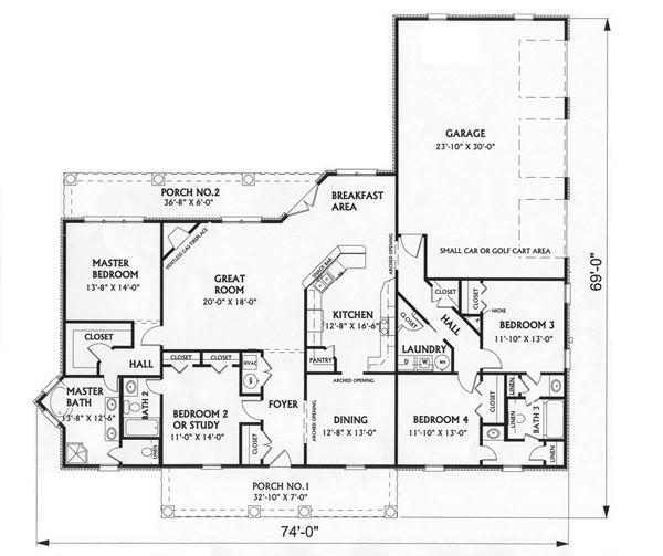 Этот красивый проект одноэтажного дома  площадью  до 250 кв.м с гаражом на 2 машины и с 4 спальнями подходит для постоянного проживания. В большой спальне есть ванная. Также перед домом есть веранда..