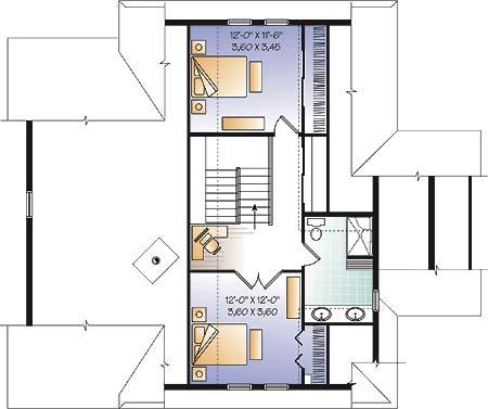 План 2 этажа Проект каркасного дома KD-4648-3-3 в трех уровнях