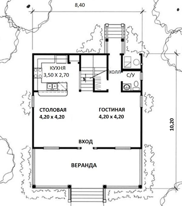 Этот привлекательный проект одноэтажного дома с мансардой в стиле кантри 8 на 10 метров площадью  до 150 кв.м с 2 спальнями подходит  для дачи . Также перед домом есть веранда..