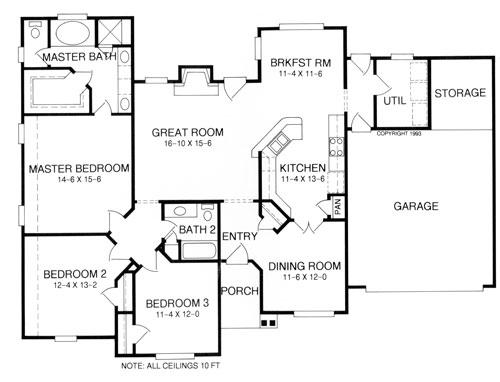 План 1 этажа План 1-этажного дома KD-8398-1-3 173 кв м