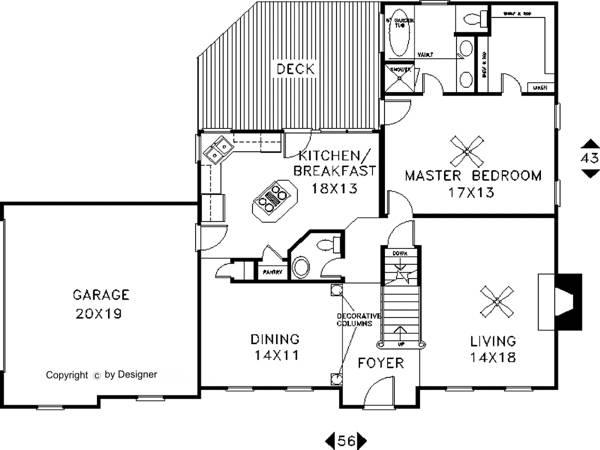 План 1 этажа План 2-этажного дома 17x13 197 кв м