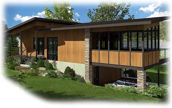 Замечательный проект двухэтажного каркасного дома в современном стиле глубиной 7 метров площадью с навесом для машин и 3 спальнями подходит для строительства на склоне.