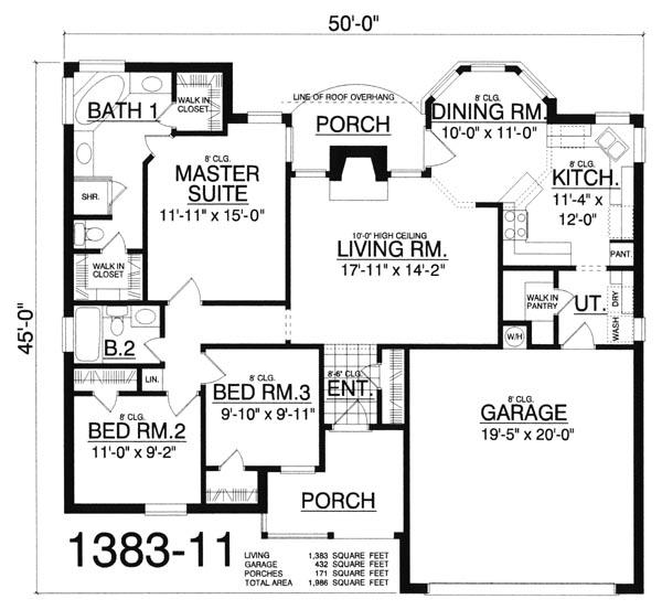 Этот симпатичный проект одноэтажного дома  площадью  до 150 кв.м с гаражом на 2 машины и с 3 спальнями подходит для постоянного проживания. Также перед домом есть веранда..