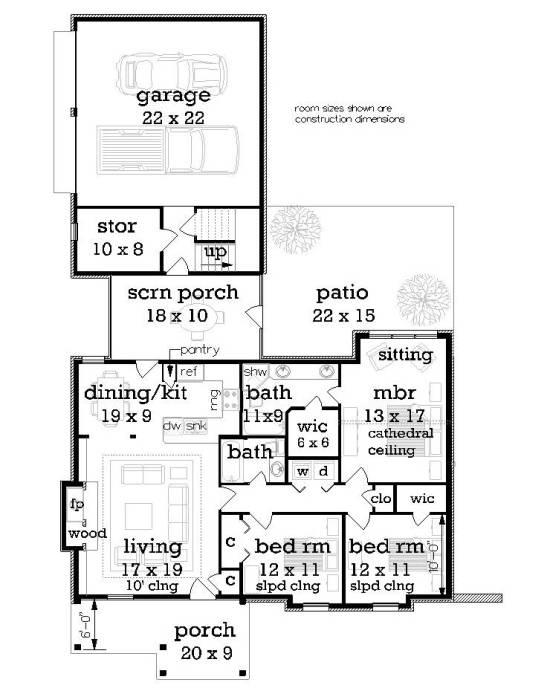 Этот красивый проект двухэтажного каркасного дома в стиле кантри площадью  до 150 кв.м с гаражом на 2 машины и с 3 спальнями подходит для постоянного проживания. Также сзади дома пристроена веранда..