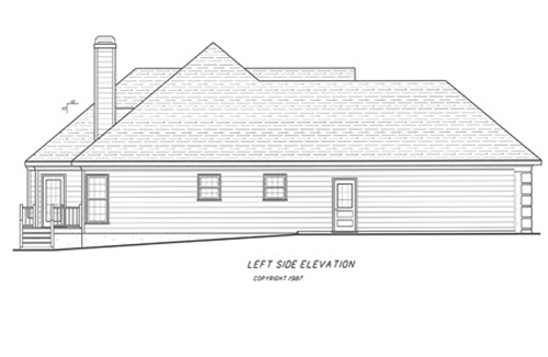 Вид слева Проект одноэтажного дома с цокольным этажом, террасой и выступающим гаражом