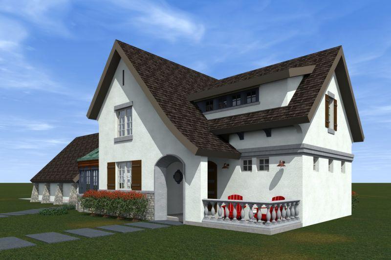 Вид со двора дома по проекту HP-3393-2-3 Проект эксклюзивного дома для Сибири с асимметричной крышей