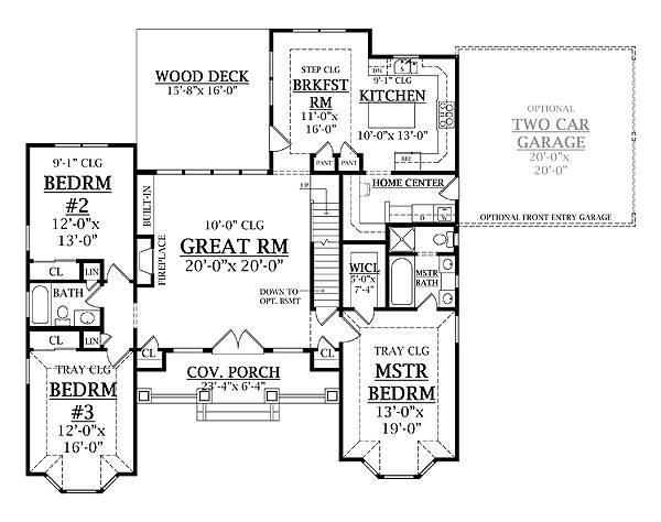 План 1 этажа План одноэтажного дома 15x16 с возможностью пристройки гаража