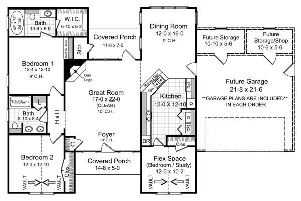 Этот красивый проект одноэтажного дома 12 метров площадью  до 150 кв.м с гаражом на 2 машины и с 3 спальнями подходит для постоянного проживания. Также перед домом есть веранда..