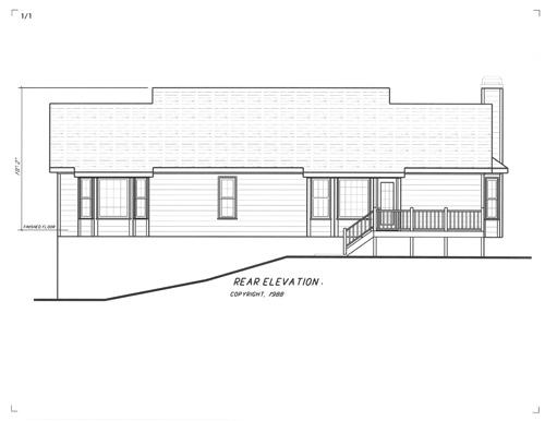 Вид сзади Проект одноэтажного дома в скандинавском стиле с гаражом в подвале