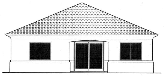 This Mediterranean house facade has Greek revival columns, an exterior clad in multiple, modern materials, decorative trim, corners decorated with limestone quoins, an arched entry door with a transom window above, transom windows and faced with stone, stucco. A complex roof with large front facing gables completes the look of this house. House plan is 39 feet wide by 49 feet deep and provides 1364 square feet of living space in addition to a two-car garage Space includes Foyer, Great Room, a Dining Room, a Kitchen, with a peninsula eating, the Master Bedroom, with a five pieces bathroom, with a walk-in closet, additional Bedrooms, with a walk-in closet, with Jack and Jill bathroom. Outdoor living space includes recessed entry porch.
